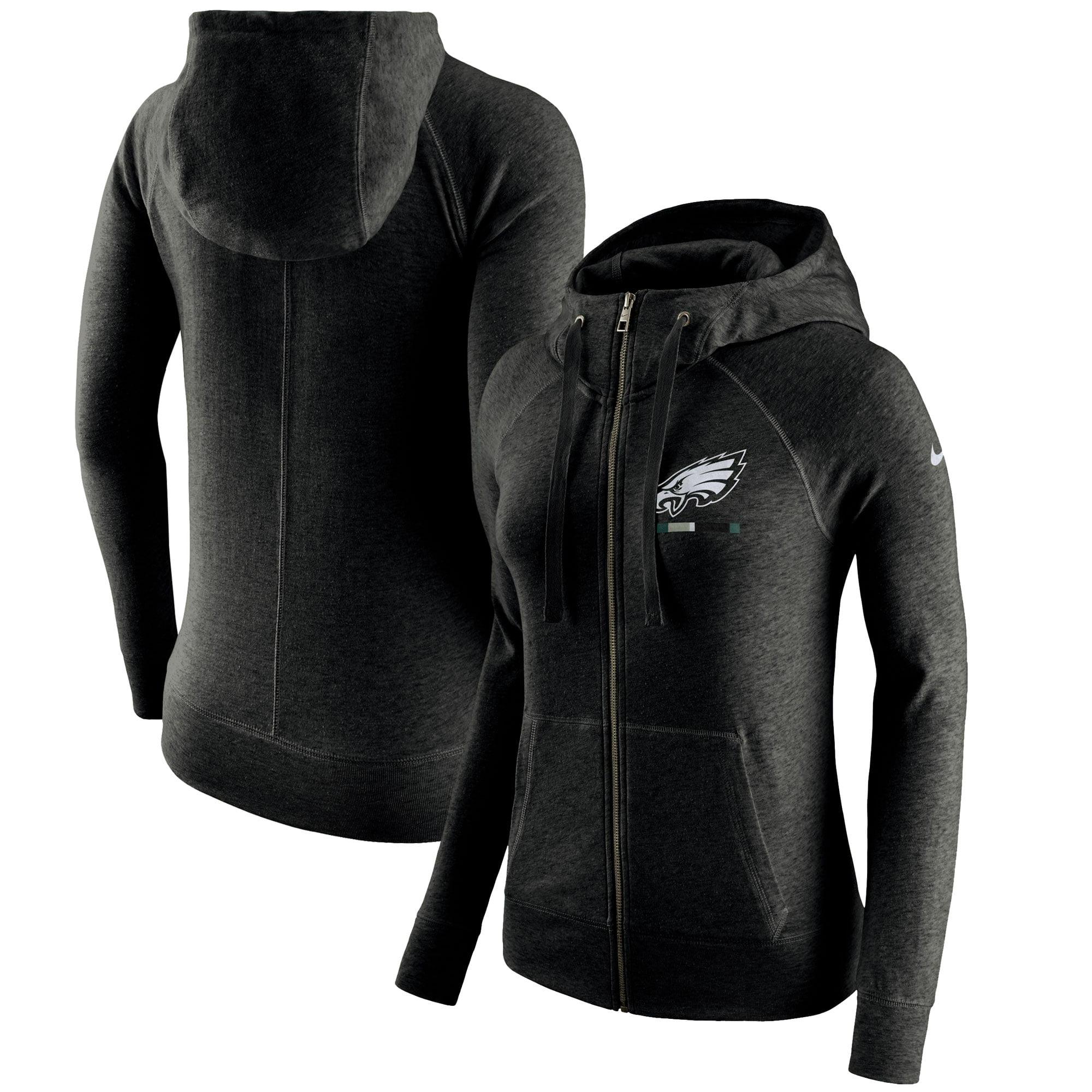 Philadelphia Eagles Nike Women's Gym Vintage Full-Zip Hoodie - Black