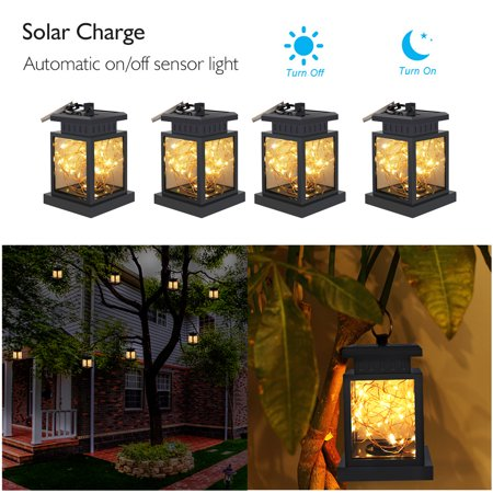 4 Pack Solar Lanterns Outdoor Hanging Upgraded Waterproof Sunwind Decorative Table Light Warm White Leds Copper Lights