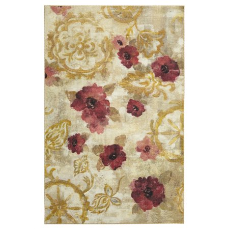 - Mohawk Prismatic Area Rugs - Z0200 A408 Contemporary Gold / Oat Water Painting Blossoms Bulbs Petals Rug