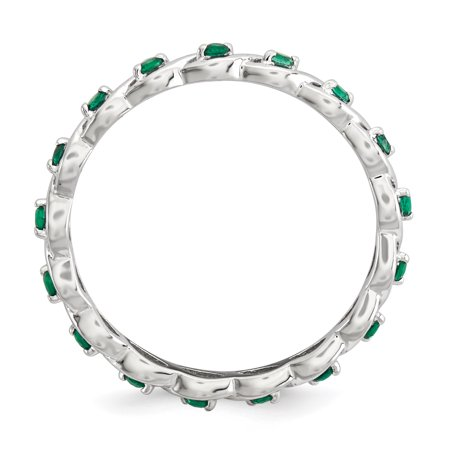 Sterling Silver Stackable Expressions Created Emerald Ring Size 6 - image 2 of 3
