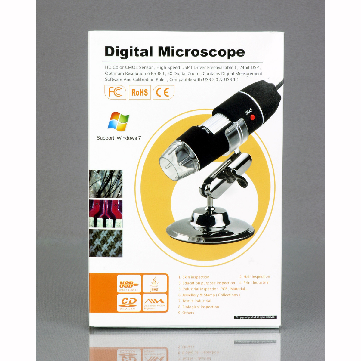 AmScope 200X 8-LED USB Digital Microscope Endoscope XP/Vista/7