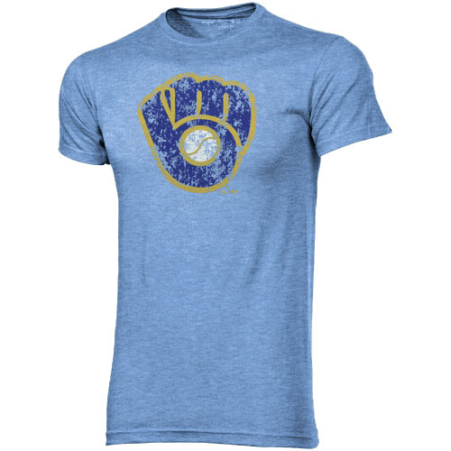 Majestic Threads Milwaukee Brewers Cooperstown Collection Tri-Blend T-Shirt - Light Blue