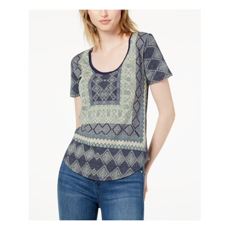 LUCKY BRAND Womens Green Printed Short Sleeve Scoop Neck T-Shirt Top Size: S