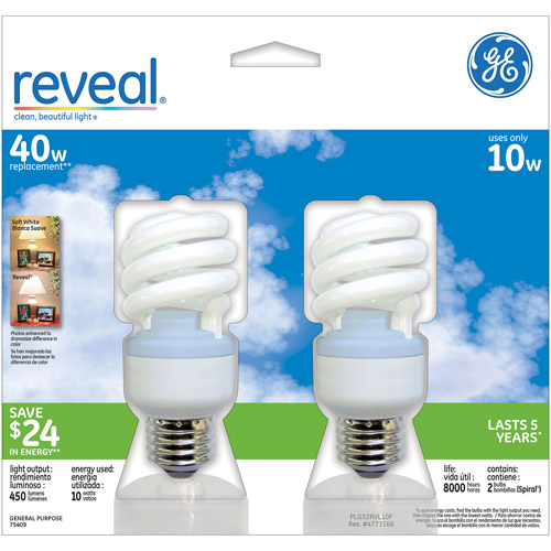 GE CFL Reveal Spiral 10wt  - 6 bulbs