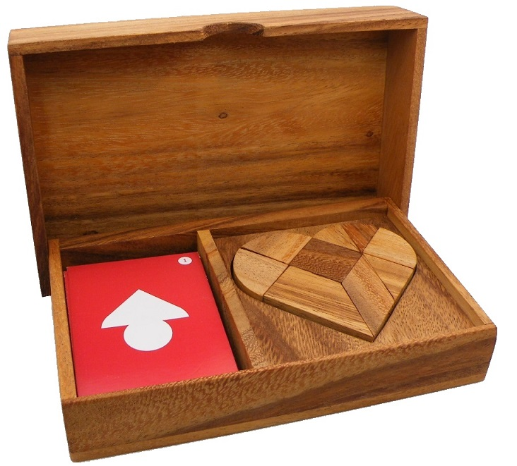 Logic Heart Tangram Set with play Cards Wooden Puzzle Game by