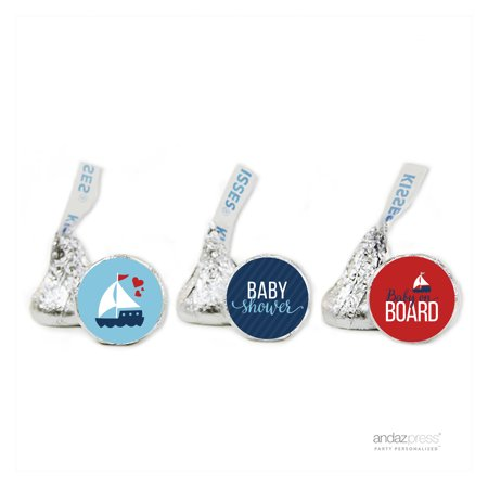 Party Navy Blue Nautical Baby Shower Hershey´s Kisses Favor Labels, 216-Pack