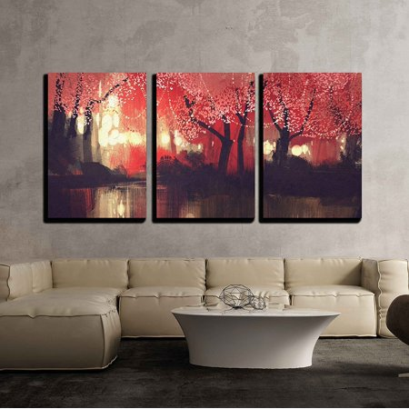 wall26 - 3 Piece Canvas Wall Art - Night Scene of Autumn Forest,Fantasy Landscape Painting - Modern Home Decor Stretched and Framed Ready to Hang - 24