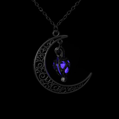 Crescent Sailor Half Moon Glow In The Dark Pendant Necklace Women's Jewelry Gift (Purple) (Glow In Dark Necklaces Wholesale)