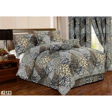 7 piece comforter set animal zebra leopard print black white bed in a bag queen - Cheetah print queen comforter set ...