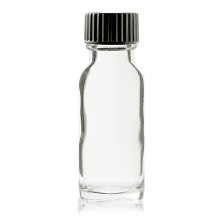 - 1/2 oz (15ml) CLEAR Boston Round Glass Bottle - w/ Poly Seal Cone Cap - pack of 6