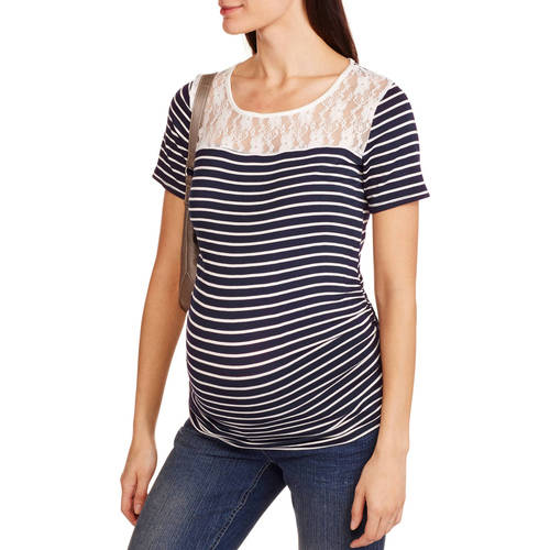 Planet Motherhood Maternity Short Sleeve Striped Tee with Lace