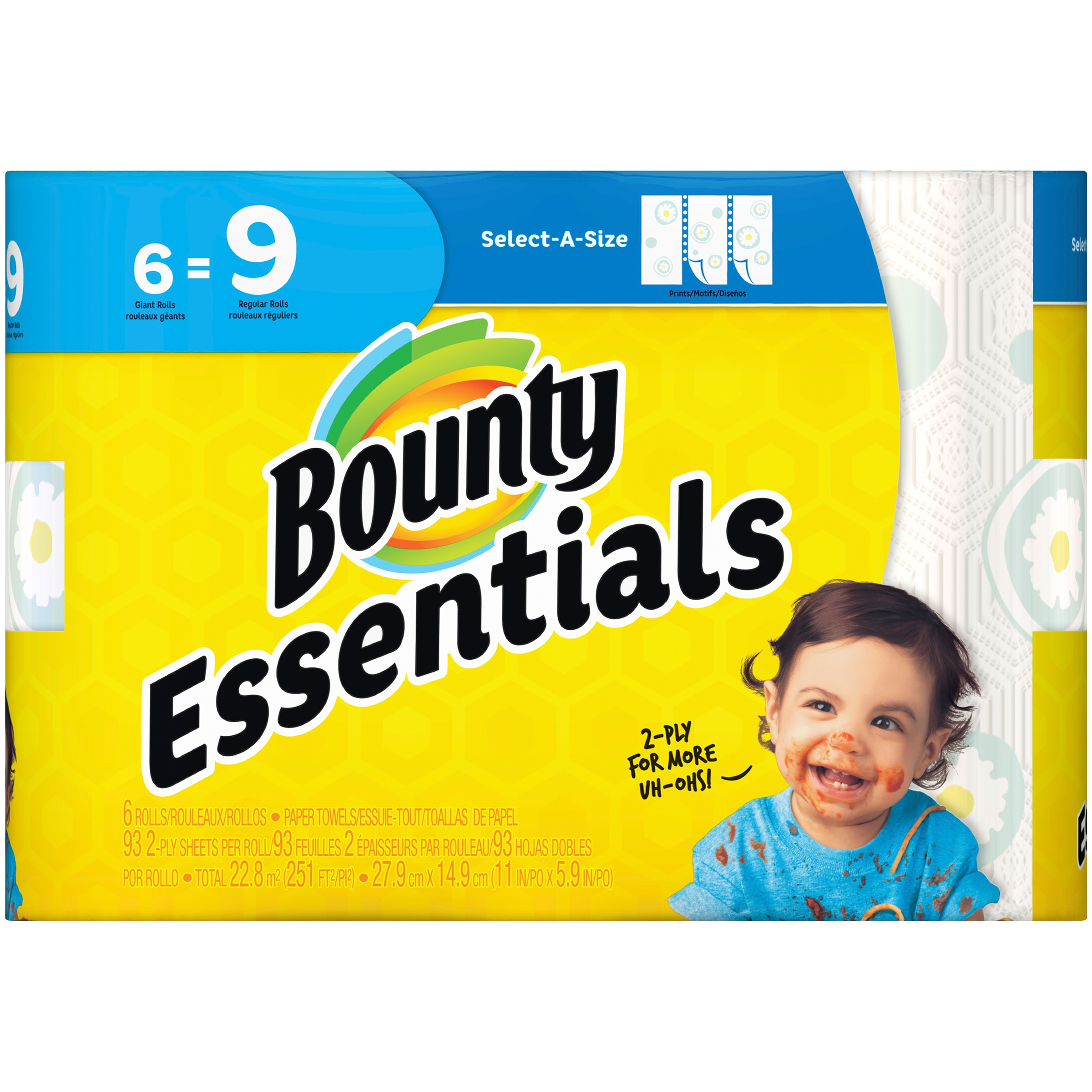 Bounty Essentials Select-A-Size Giant Roll Print Paper Towels 6 ct Pack