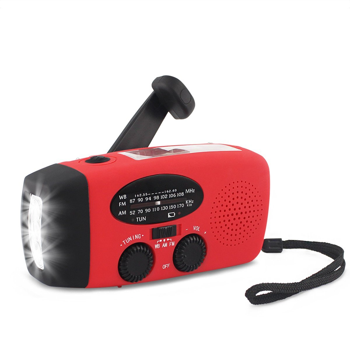 Click here to buy Emergency Hand Crank Radio, Bearham Portable Camping Radios Self Powered AM FM WB NOAA... by Bearham.