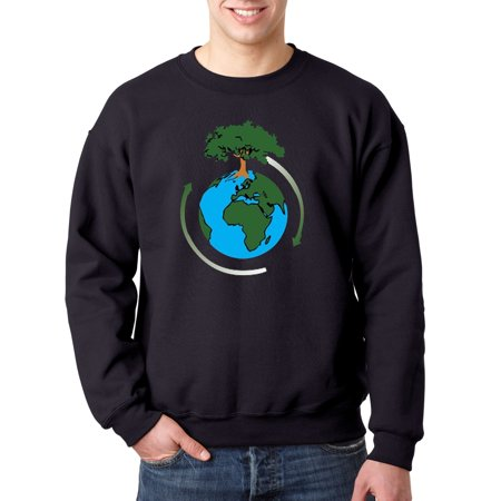 Trendy USA 488 - Crewneck Earth Day Save Our Trees Sweatshirt Large Navy
