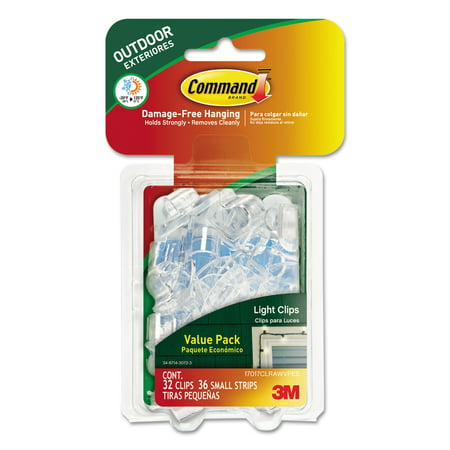 Command All Weather Hooks And Strips Plastic Small 32 Clips 36 Pack