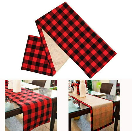 Peroptimist Christmas Table Runner Red Black Cotton Buffalo Check Plaid and Burlap Double Sided Reversible Table Runner for Holiday Christmas Table Decorations ()