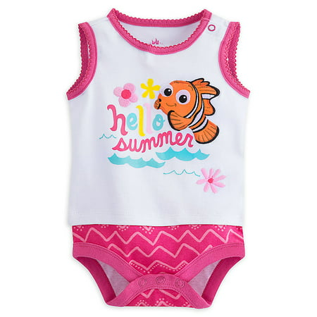 "Disney Store Baby Girls Nemo - Finding Nemo - ""Hello Summer"" Sleeveless Bodysuit"