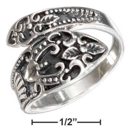 P-017326-07 7 in. Sterling Silver Antiqued Scrolled Spoon Ring ()