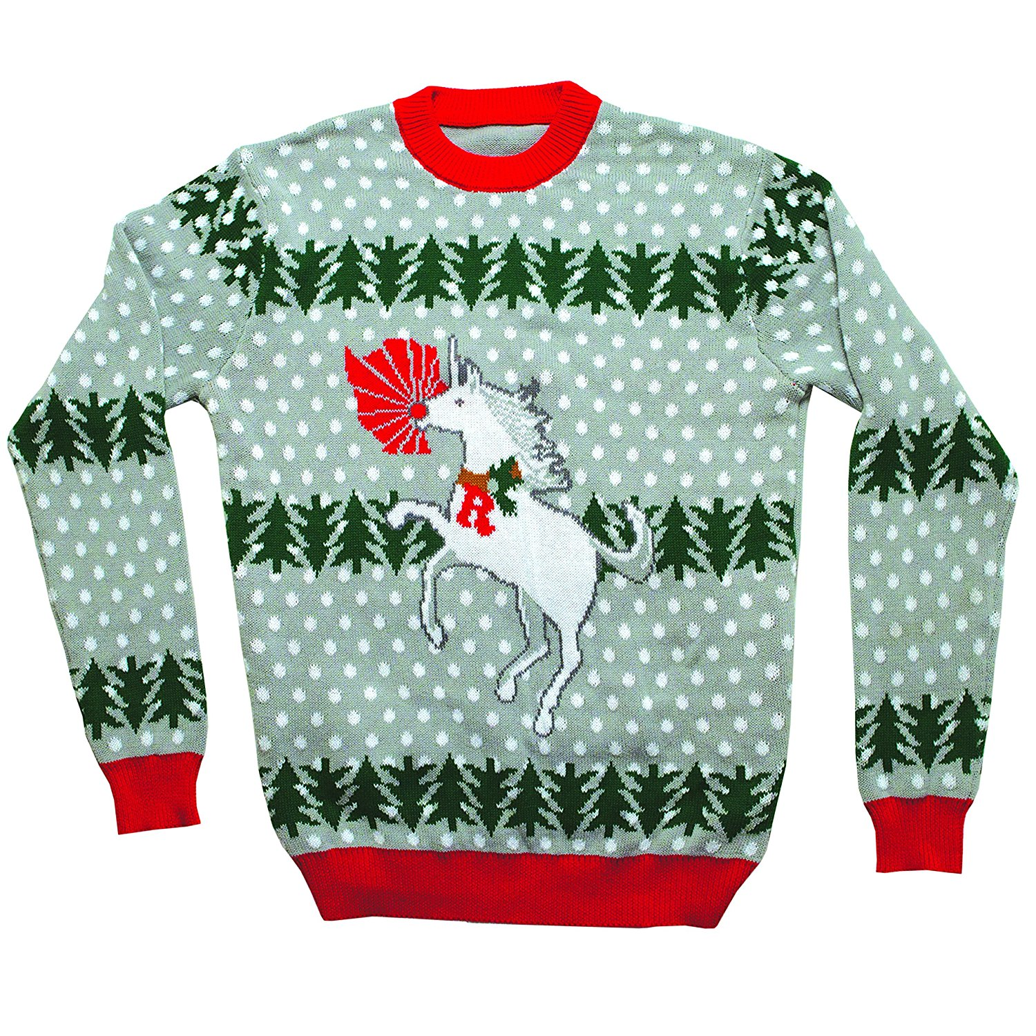 Unicorn Rudolph Ugly Christmas Sweater Gray
