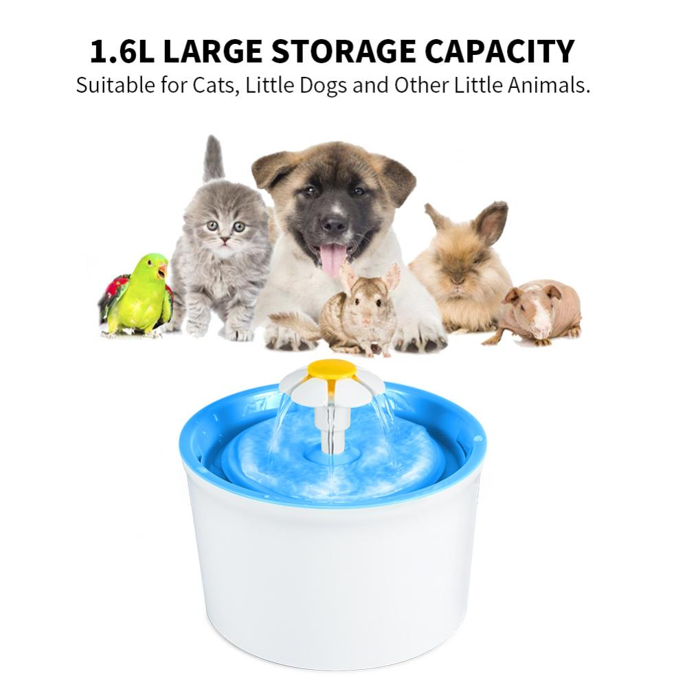Ymiko Automatic Circulation Filter Pet Water Dispenser Has Strong Filtration of Hair,Automatic Electric 1.6L Pet Water Flower Fountain Dog Cat Drinking Bowl Dish Green & White