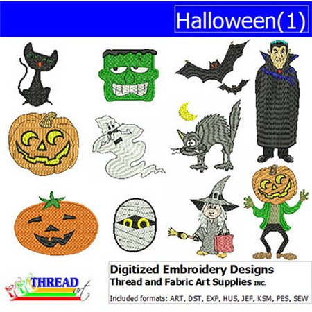 ThreadArt Machine Embroidery Designs Halloween Version 1 CD