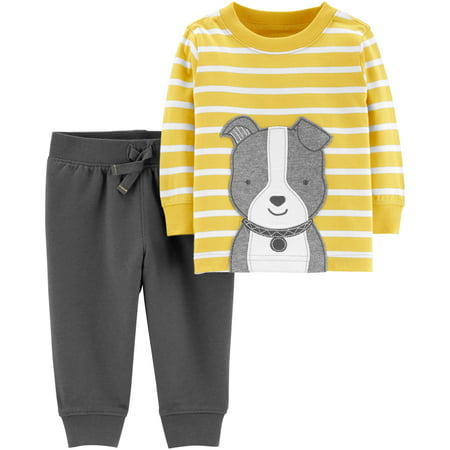 Long Sleeve T-Shirt & Jogger Pants, 2-Piece Outfit Set (Baby Boys) - Toddler Boy Valentine Outfit
