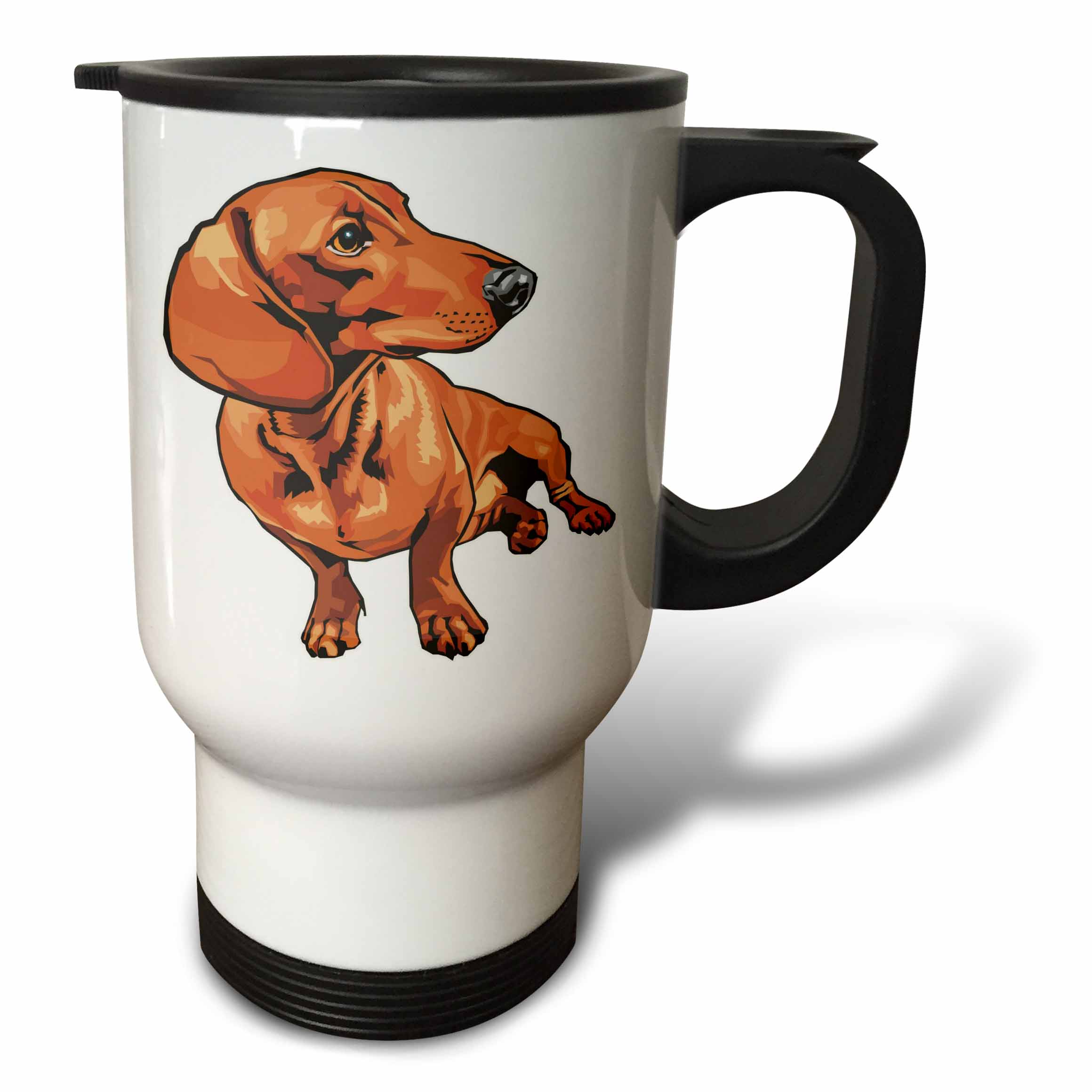 3dRose Cute and Cuddly Canine Red Dachshund, Travel Mug, 14oz, Stainless Steel