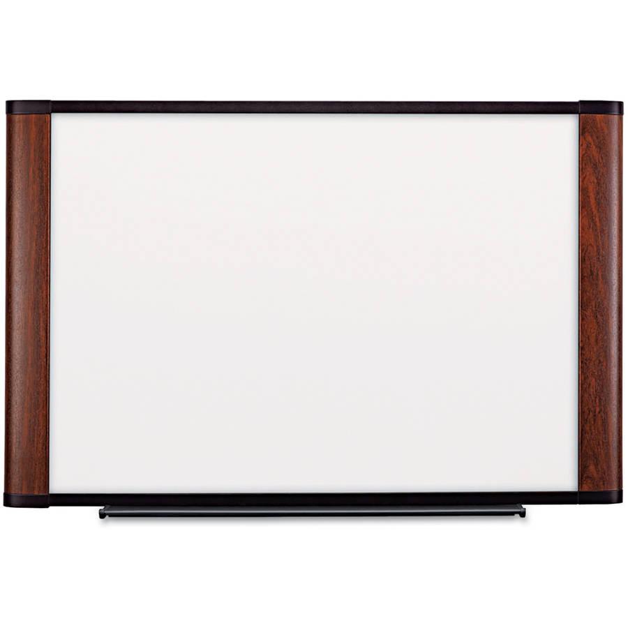 "3M Melamine Dry Erase Board, 72"" x 48"", Mahogany Frame"