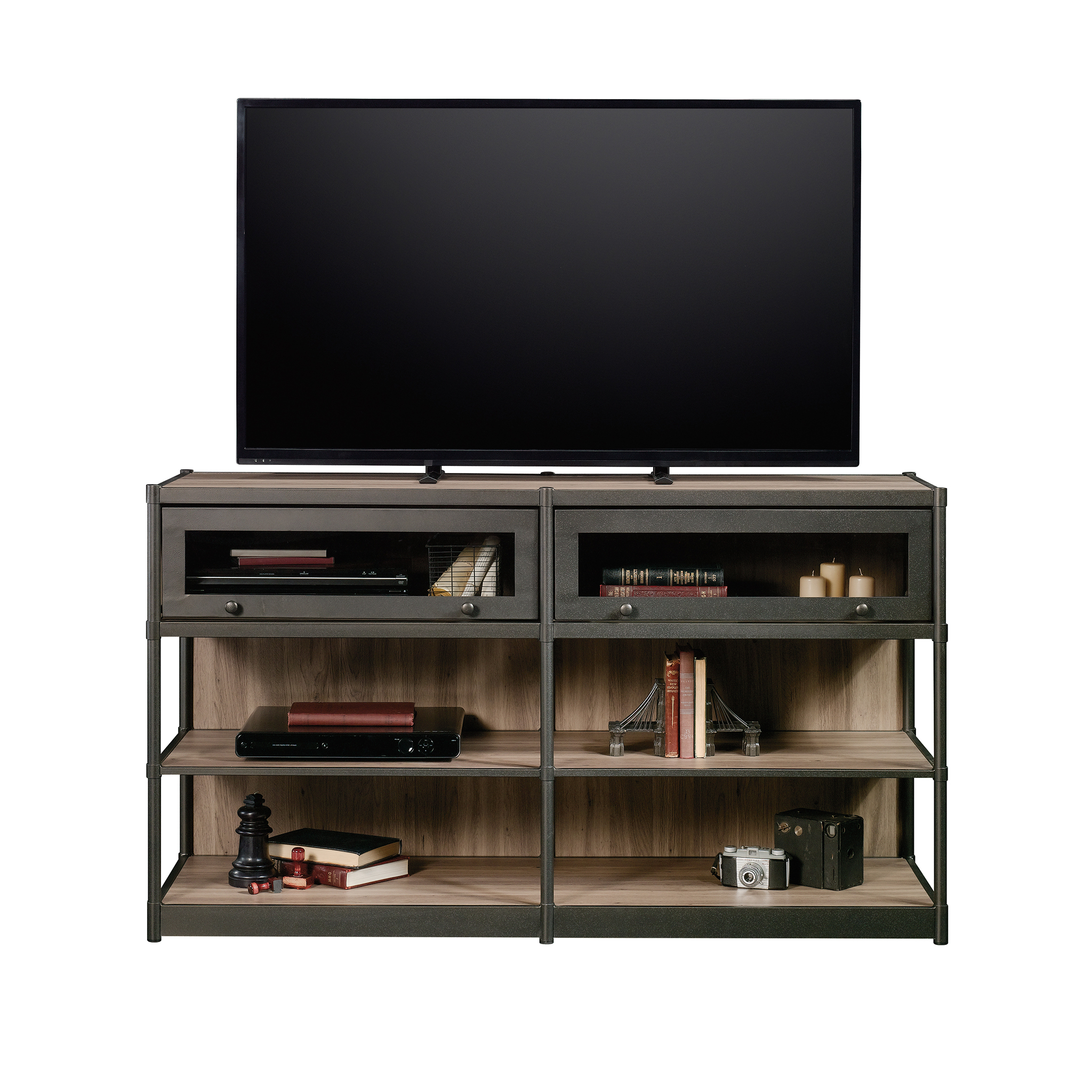 "Better Homes & Gardens Bailey Inn Credenza TV Stand for TVs up to 60"", Washed Oak Finish"