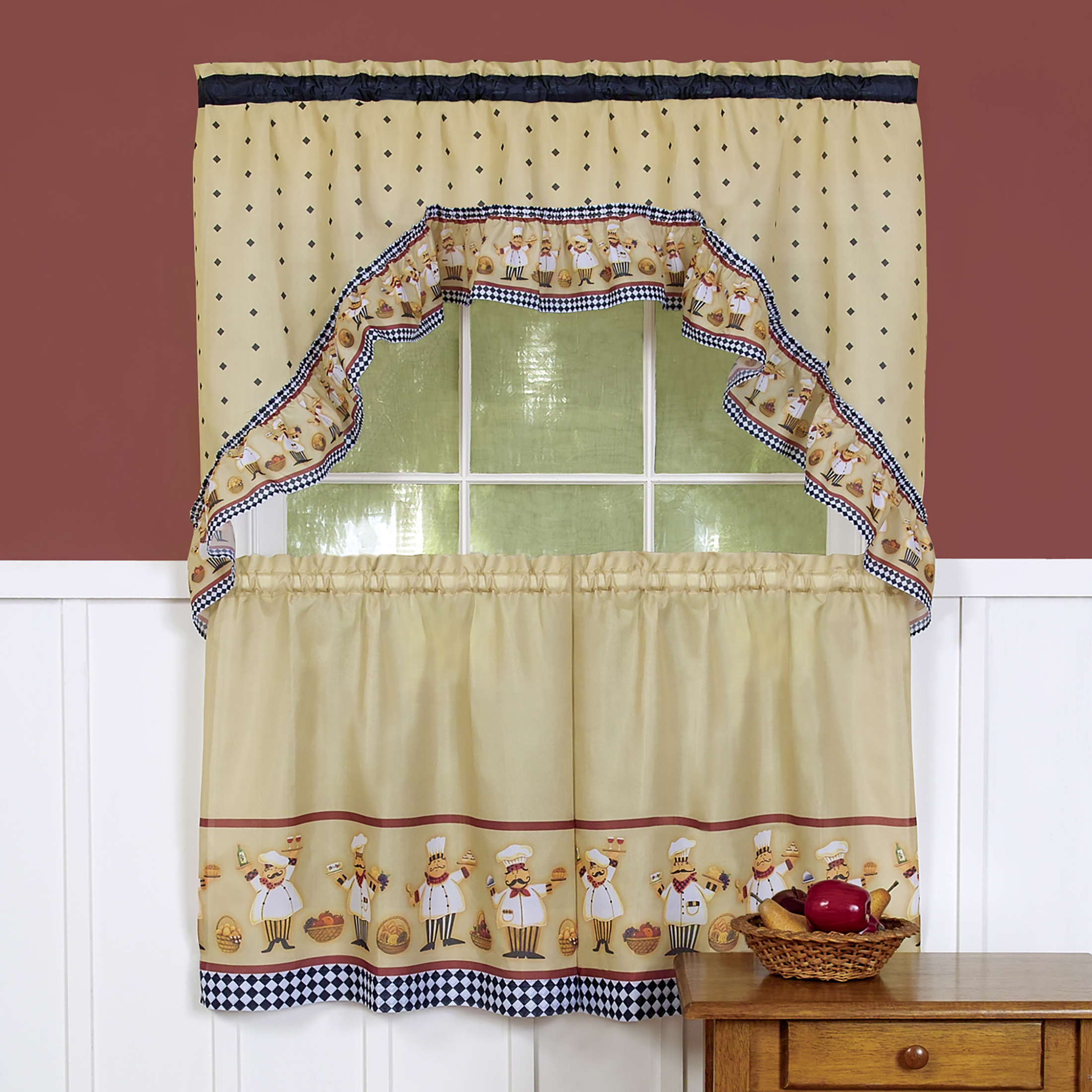 Woven Trends 3 Piece Kitchen Curtain Set Cute Chef Kitchen Decor Cafe Curtain With Swag And Tier Panel Set Perfect Window Treatment For Living Room Bedroom And Kitchen Walmart Com Walmart Com