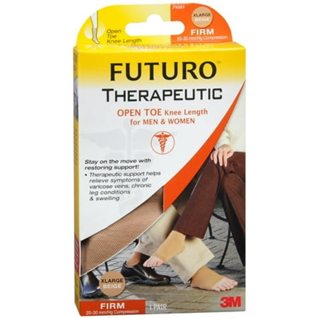 Futuro Therapeutic Knee Length Stockings Open Toe Firm Xlarge Beige 1 Pair