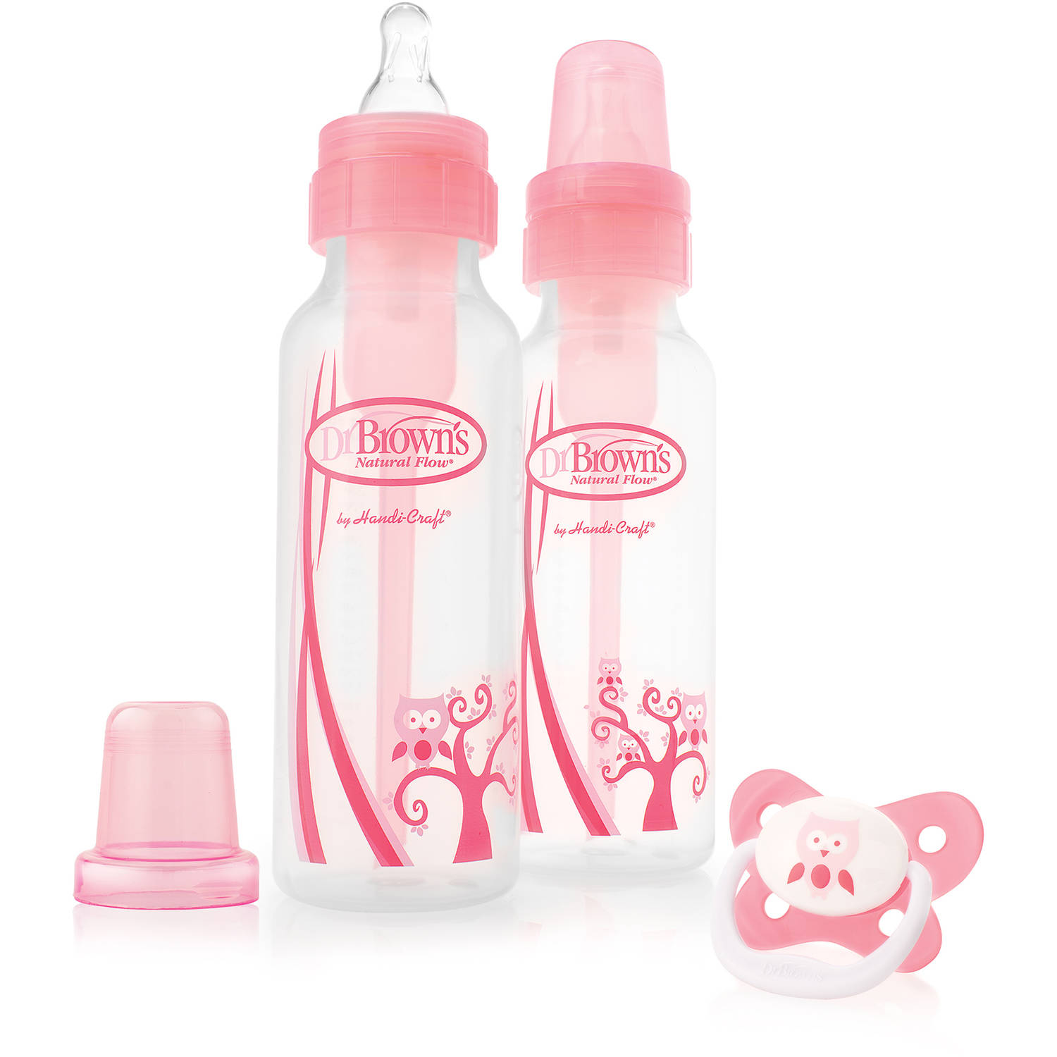 Dr. Brown's Natural Flow 8oz. Baby  Bottles, Pink, 2-pack and Pacifier, BPA-Free