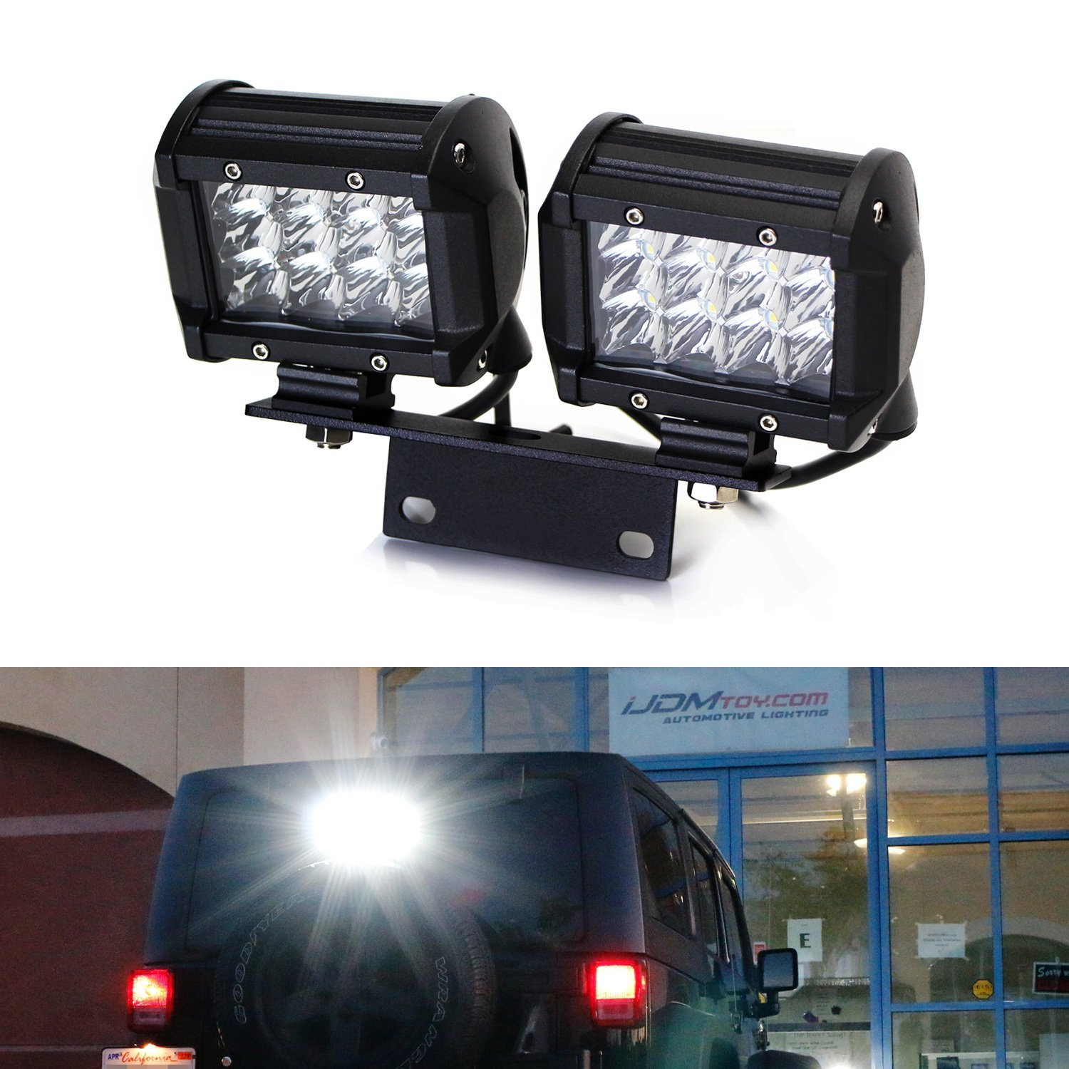Ijdmtoy 72w Above 3rd Brake Dual Led Rear Lighting Kit W Mounting Relay Switch Walmart Bracket Wiring For 2007 2017 Jeep Wrangler Jk As Driving Search Lights