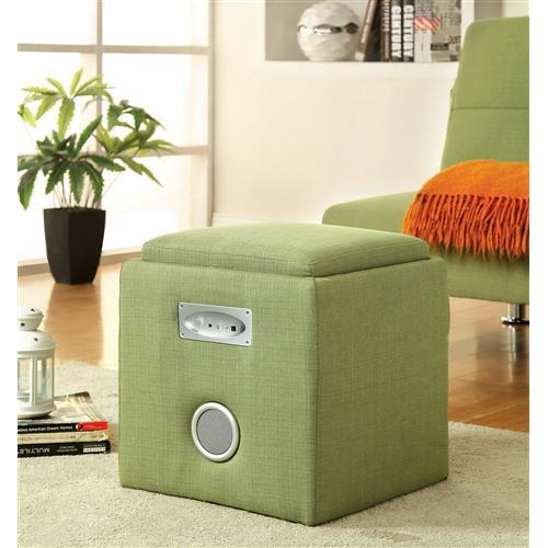 Furniture of America IDF-AC122GR Reverb Cube Ottoman with Bluetooth, Green