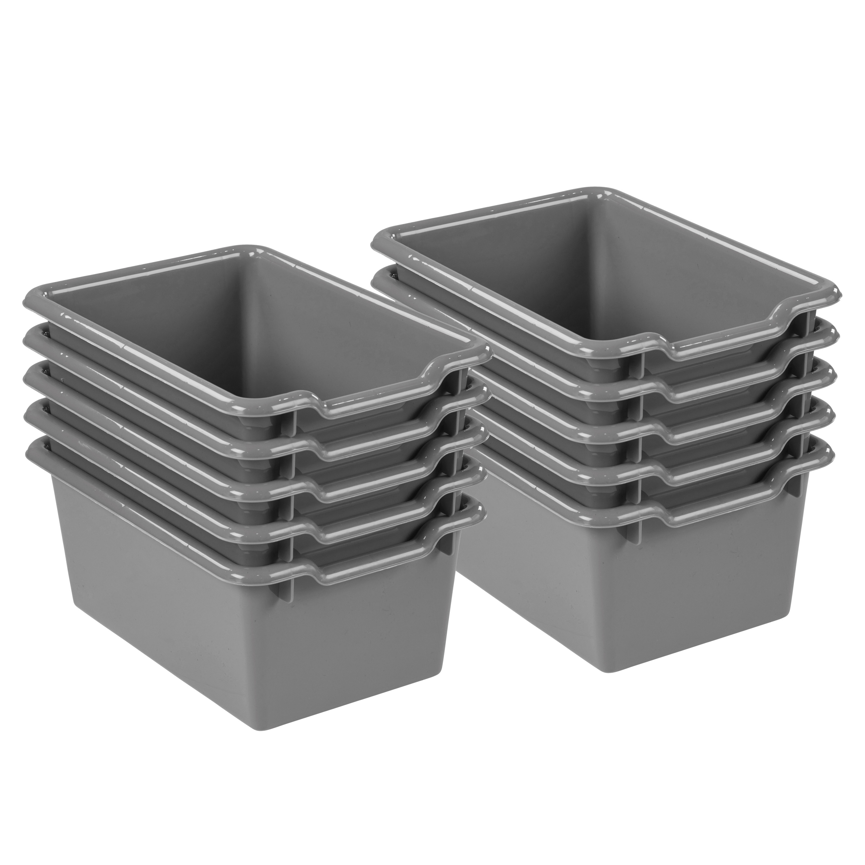 Scoop Front Storage Bins - Clear -10pk