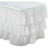 3-Tier Ruffled Table Skirt, White