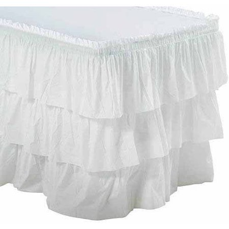 3-Tier Ruffled Table Skirt, White - Pink Tutu Table Skirt