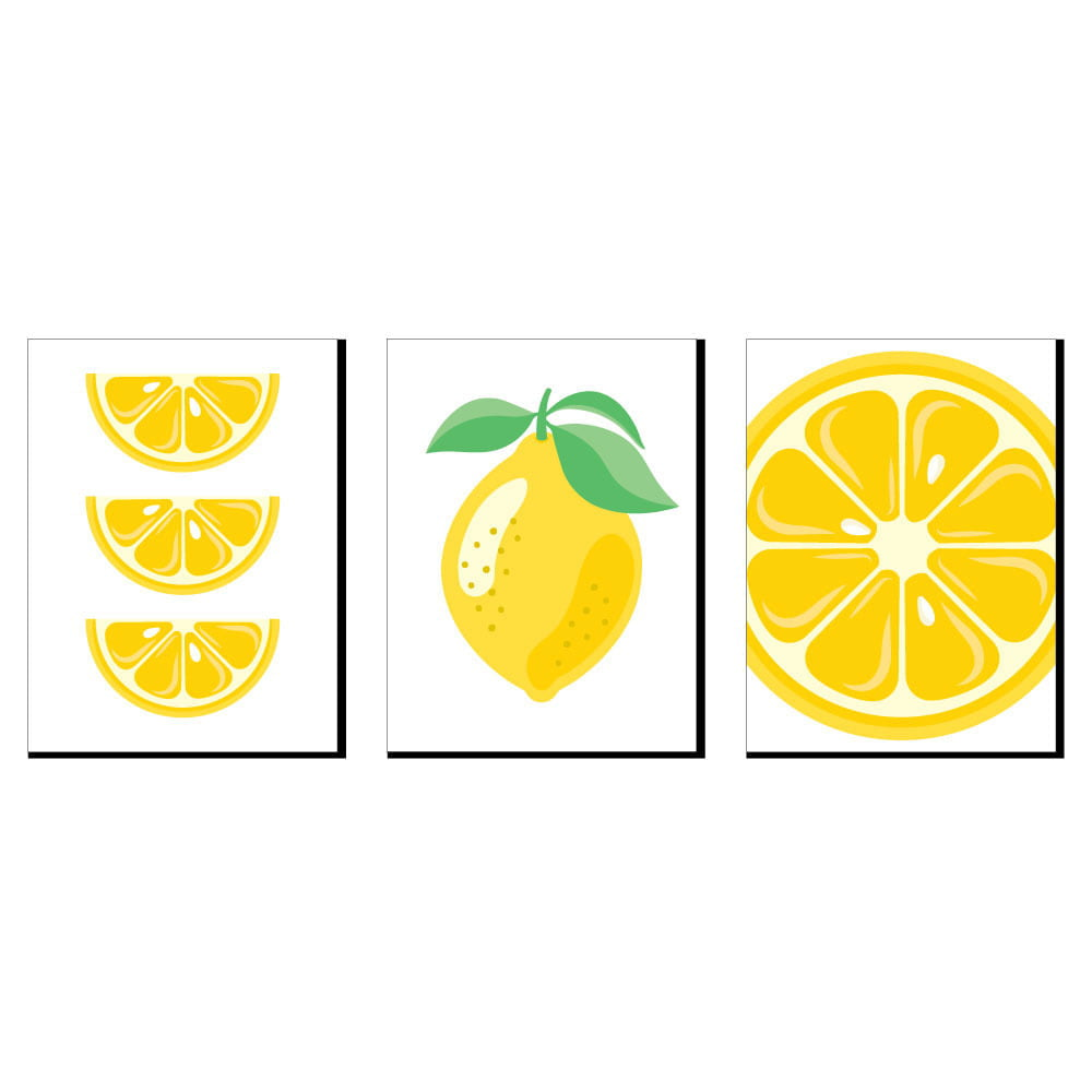So Fresh Lemon Citrus Lemonade Kitchen Wall Art Nursery Decor And Restaurant Decorations 7 5 X 10 Inches Set Of 3 Prints Walmart Com Walmart Com