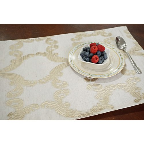Dainty Home Scroll Printed Fabric 13'' Placemat (Set of 8)