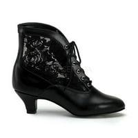 Funtasma Victorian Granny Boot Lace Accent Assorted Colors DAME-05 - Black,8