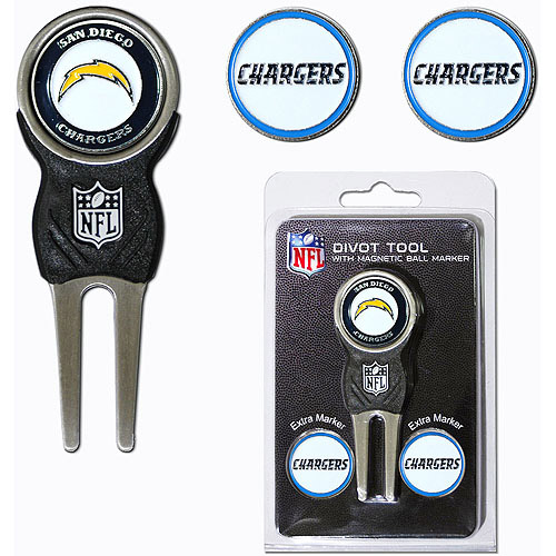 Team Golf NFL San Diego Chargers Divot Tool Pack With 3 Golf Ball Markers