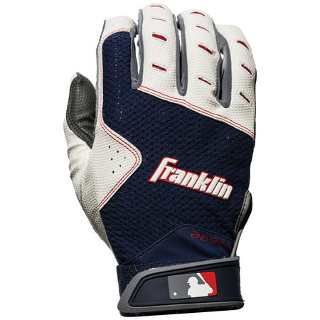 Franklin Sports 2nd Skinz XT Batting Gloves - Gray/Navy - Adult (Upper Hand Batting Gloves)