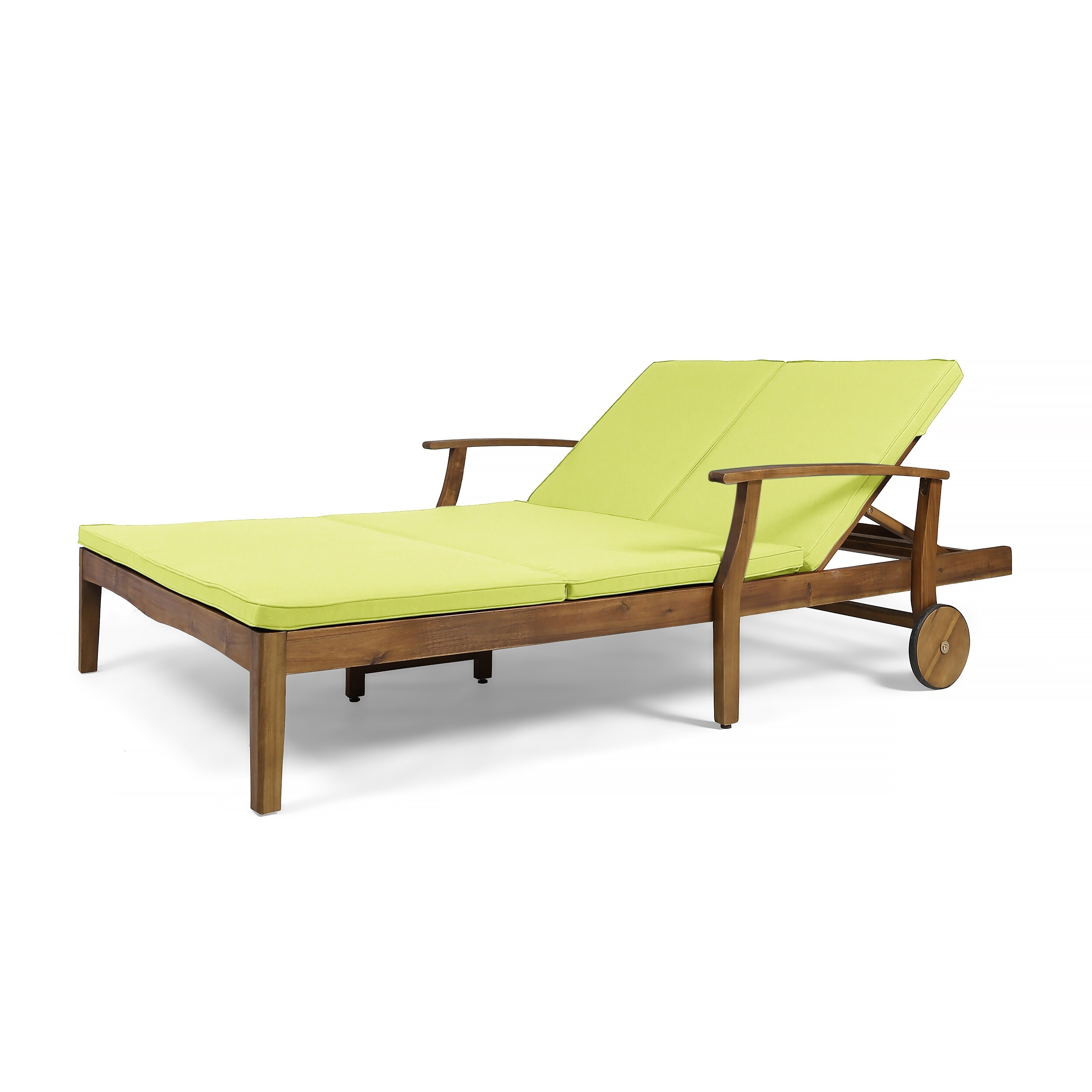 Perla Outdoor Acacia Wood Double Chaise Lounge By Teak Finish Green Walmart Com Walmart Com