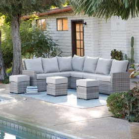 Suncrown Outdoor Conversation Set 4 Piece Grey Wicker Sectional Patio Furniture With Glass Top Table All Weather Sofa Thick Durable Cushions With