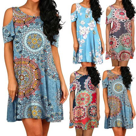Tuscom Women's Short Sleeve Printed Cold Shoulder Pockets Dresses Cold Shoulder Tunic Swing T-Shirt Loose Dress With Pockets Summer Beach Dresses Party Dress