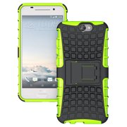 HTC ONE A9 CASE, NAKEDCELLPHONE'S LIME GREEN GRENADE GRIP RUGGED TPU SKIN HARD CASE COVER STAND FOR HTC ONE A9 PHONE