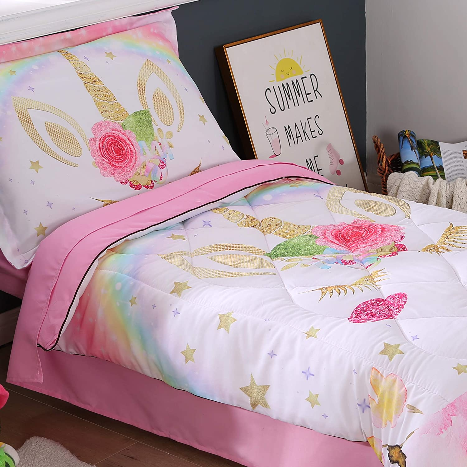 Wowelife Rainbow Unicorn Toddler Bedding Set Pink 4 Piece Clounds Toddler Bed Sets for Girls Pink Rainbow