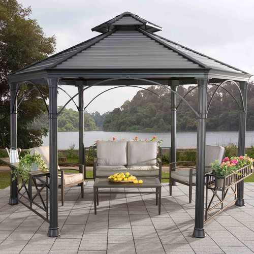 Sunjoy 110102018 Holden Hexagonal Gazebo, Black Top by SunNest Services LLC