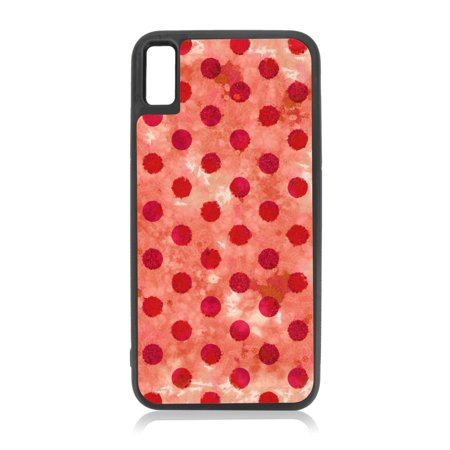 low cost c0d89 f113e Red Pink Grunge Polka Dots Design Black TPU Rubber Case Cover for the Apple  iPhone 10 / iPhone X / iPhone XS - iPhone 10 Case - iPhone X Case - iPhone  ...