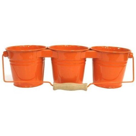 Enameled Galvanized Triple Planter with Wood Handle for 4.5 in. Pots, Tangerine - image 1 de 1